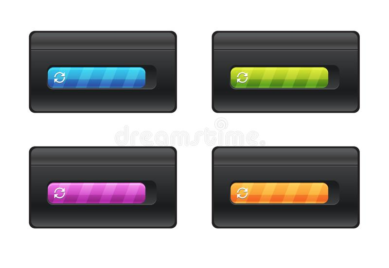 Progress bar and loading different colors on black background vector file. stock illustration