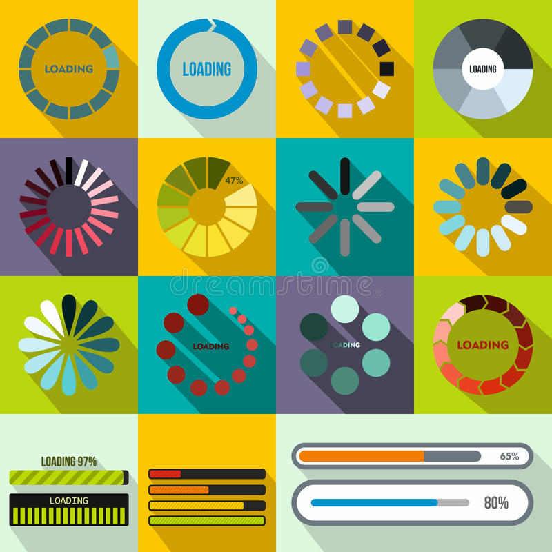 Progress bar and loading icons set, flat style stock illustration