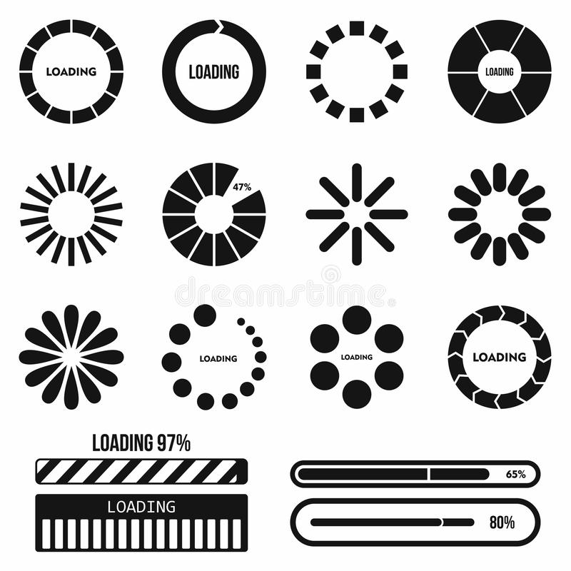 Progress bar and loading icons set in simple style. On a white background vector illustration