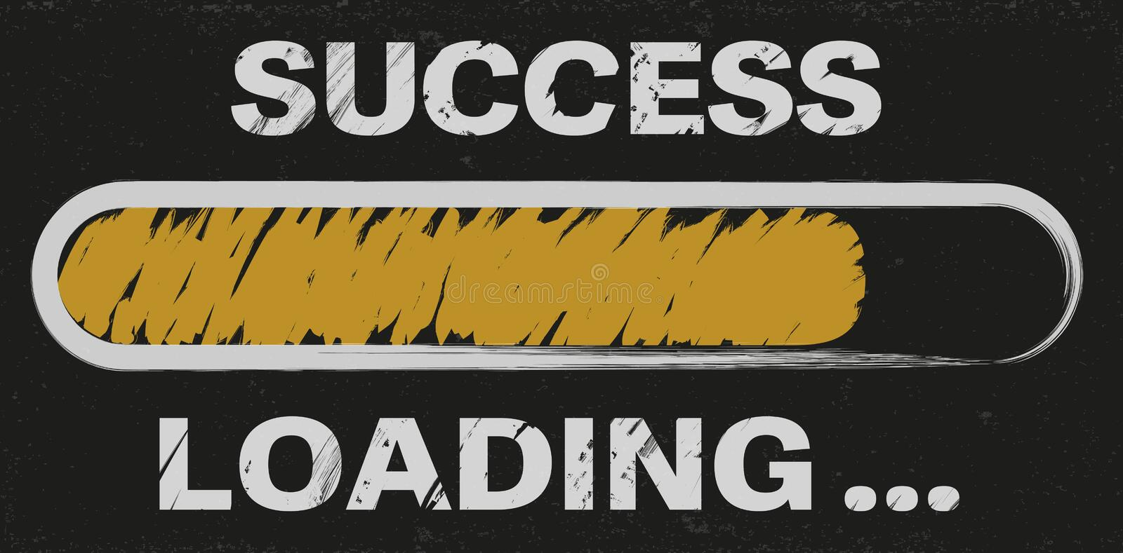 Progress bar with words success loading stock illustration