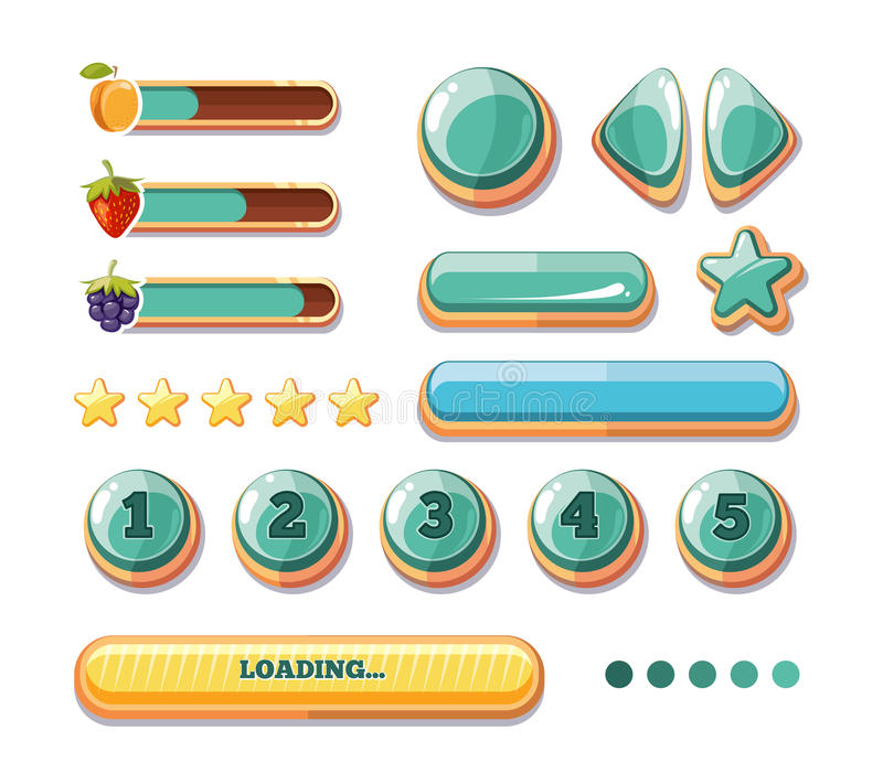 Progress bars, buttons, boosters, icons for computer games user interface. Vector collection. Progress bars, buttons, boosters, icons for computer games user royalty free illustration