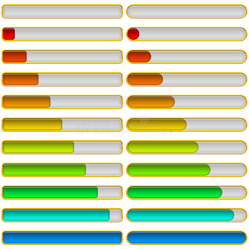 Progress bars, set vector illustration