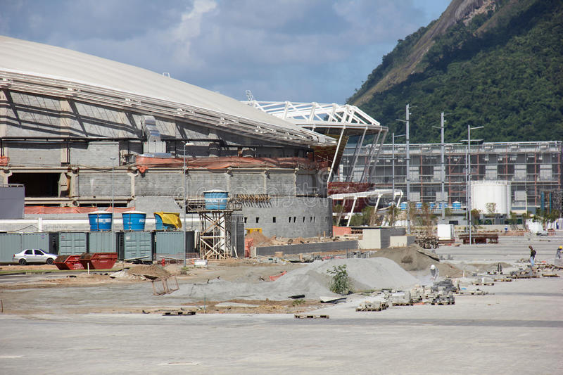 Progress of construction of the Rio 2016 Olympic Park stock photos