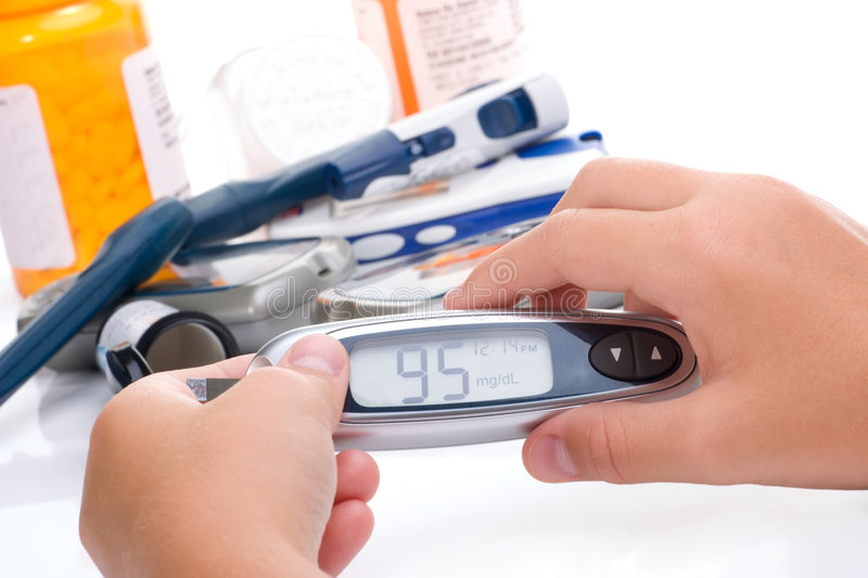Progress in glucose level blood test equipment stock photography