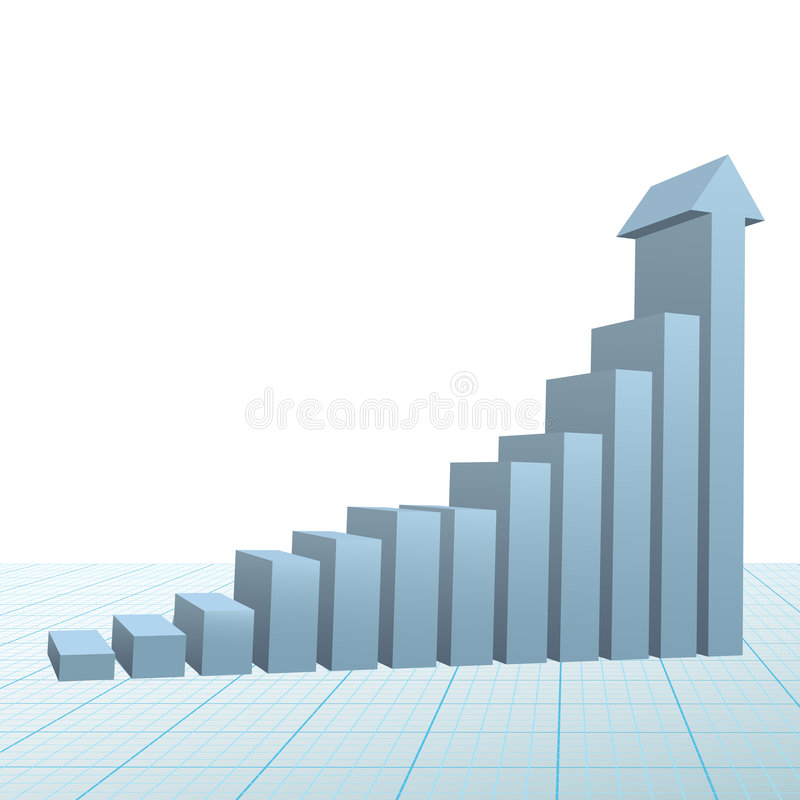 Progress growth bar chart up arrow on graph paper. A high rise 3D Financial Bar Chart on graph paper with up arrow predicting success and growth vector illustration