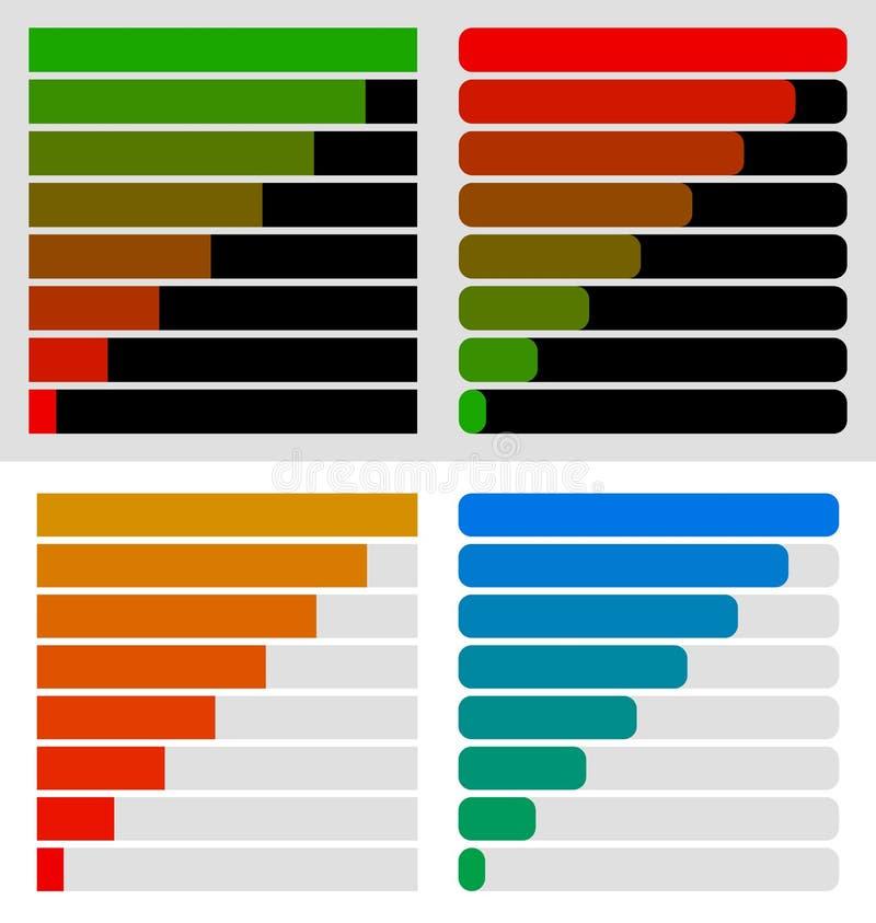 Progress, load bar templates set at 8 stages, steps. Completion,. Progression indicators - Royalty free vector illustration stock illustration