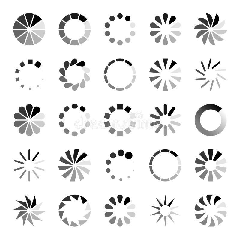 Progress loader icons. Load spinning circle circular buffering indication waiting loading computer website download. Upload status symbol vector set stock illustration