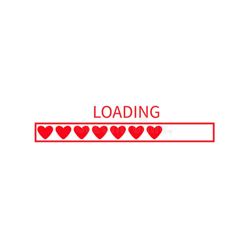 Progress loading status bar icon. Love collection. Red heart. Funny happy valentines day element.Web design app download timer. Wh royalty free illustration