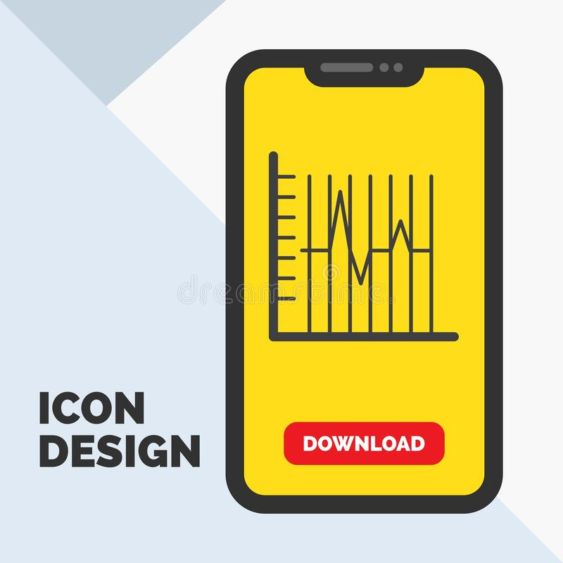 Progress, report, statistics, patient, recovery Glyph Icon in Mobile for Download Page. Yellow Background. Vector EPS10 Abstract Template background royalty free illustration