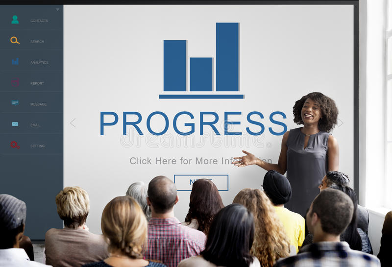 Progress Result Summary Chart Concept. People Listening Progress Result Summary Chart Discussion stock images