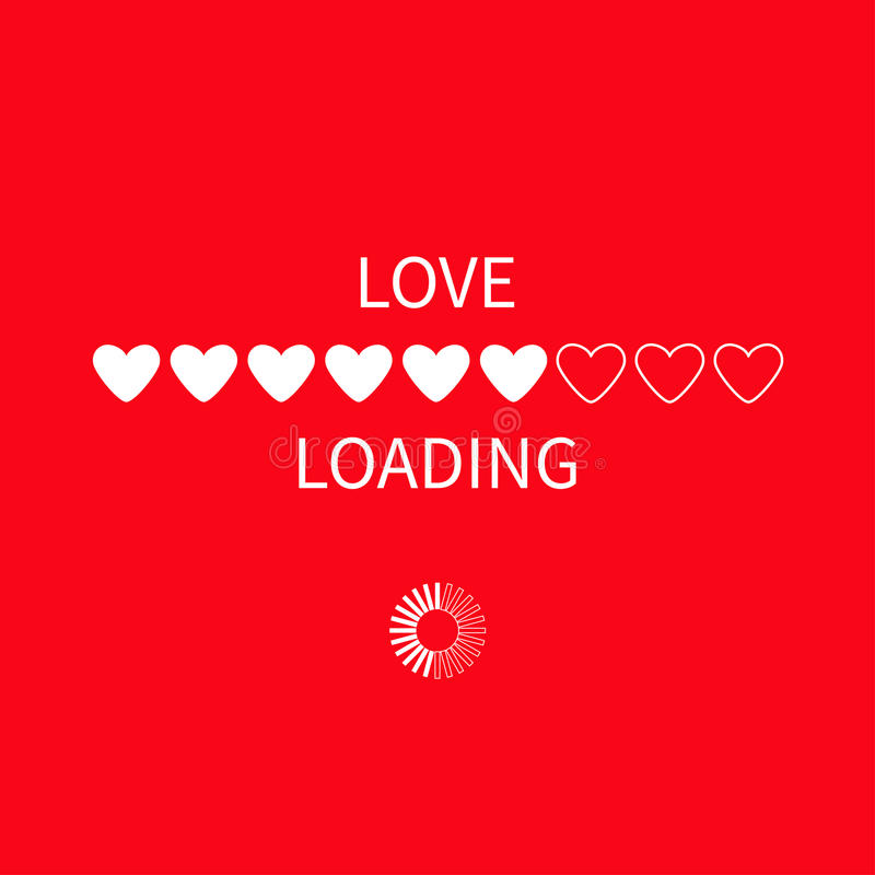 Progress status bar circle icon. Love loading collection. White heart. Funny happy valentines day element.Web design app download stock illustration