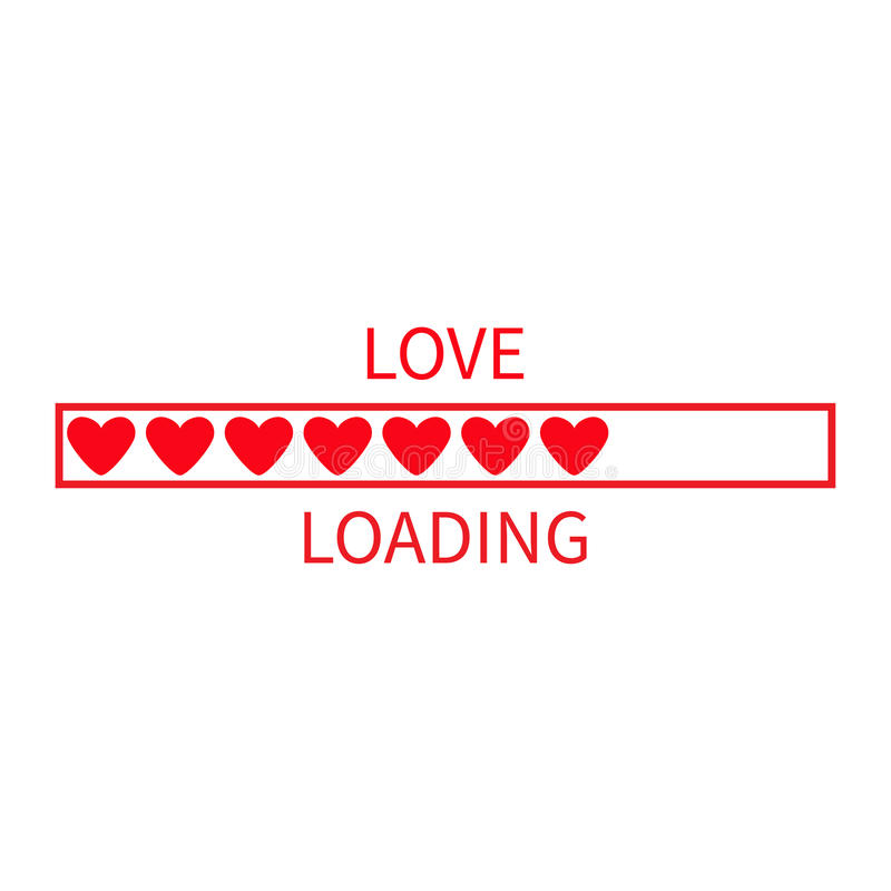 Progress status bar icon. Love loading collection. Red heart. Funny happy valentines day element.Web design app download timer. Wh stock illustration