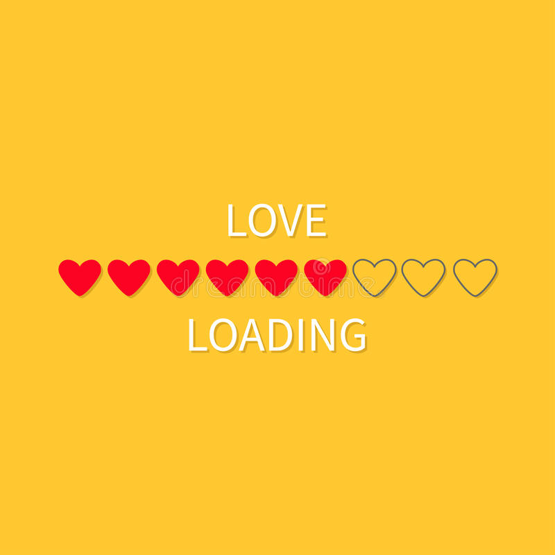 Progress status bar icon. Love loading collection. Red heart. Funny happy valentines day element.Web design app download timer. Ye vector illustration