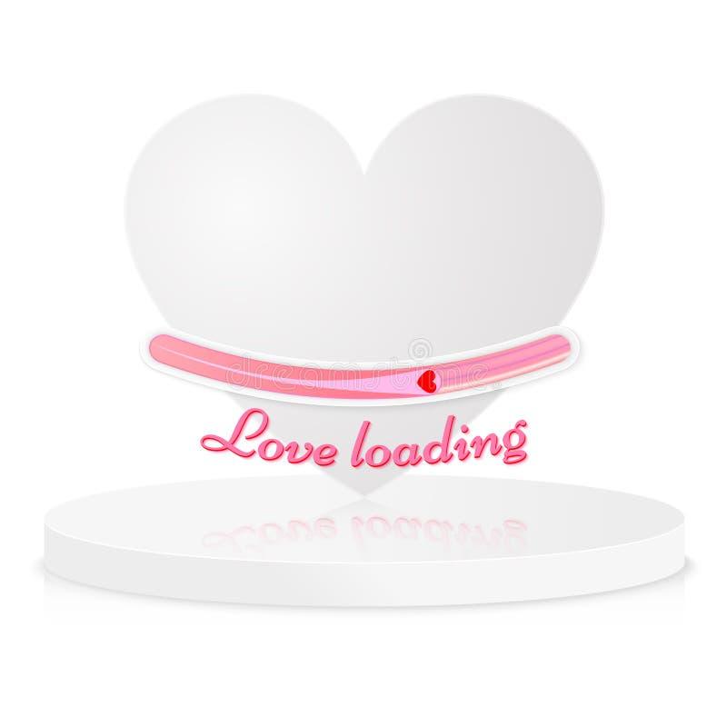 Progress status bar icon. Love loading collection. White heart. royalty free illustration