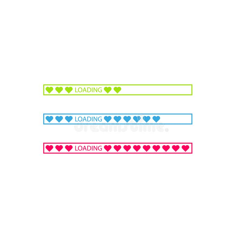 Progress status bar icon. Love loading collection. White heart. Funny happy valentines day element.Web design app royalty free illustration