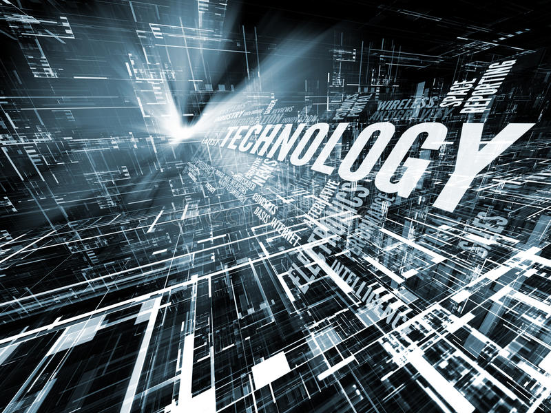 Progress of Technology. Interplay of technology words and abstract forms on the subject of progress in modern technology stock illustration
