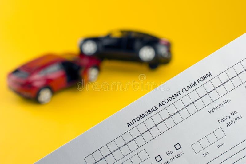 Progressive car insurance. Car crash broken cars and insurance document. progressive car insurance concept. yellow background royalty free stock images