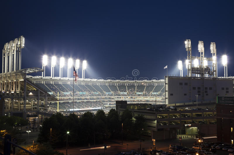 Progressive Field. Seen during spring evening time before an event royalty free stock photography