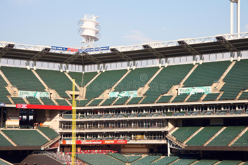 Progressive Field. Green seats of the Progressive Field stadium in the center of Cleveland royalty free stock image