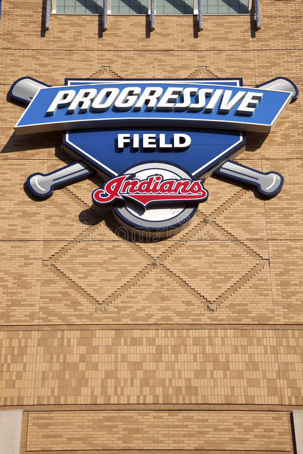 Progressive Field. Sign in front of the stadium in the center of Cleveland stock photo