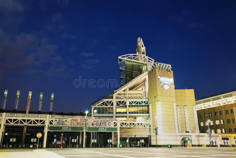 Progressive Field. In the center of Cleveland stock image