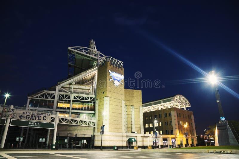 Progressive Field. In the center of Cleveland stock photo