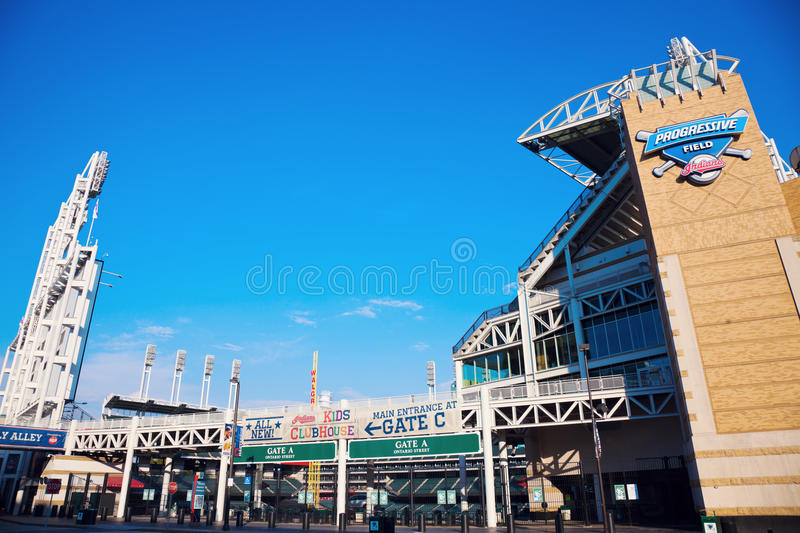 Progressive Field. Stadium in the center of Cleveland royalty free stock photo