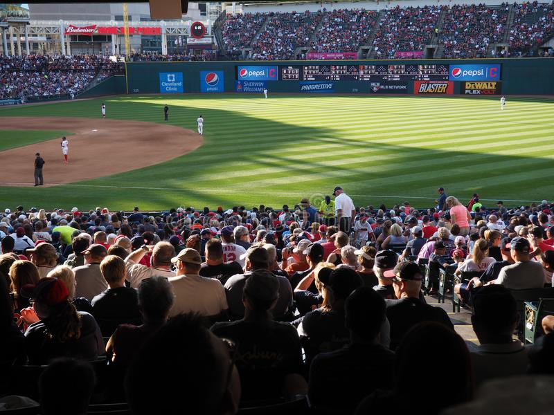 A sunny view at Progressive Field in Cleveland, Ohio - USA - OHIO. Progressive Field is a baseball park located in the downtown area of Cleveland, Ohio, United royalty free stock photo