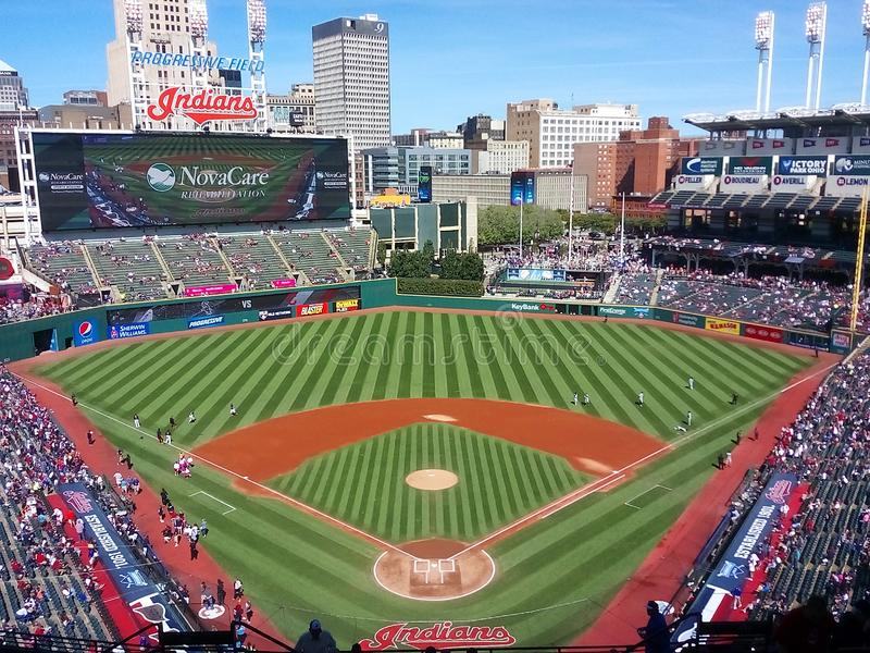 Cleveland Ohio and Progressive Field. Progressive Field is a baseball park located in the downtown area of Cleveland, Ohio, United States. It is the home field royalty free stock image