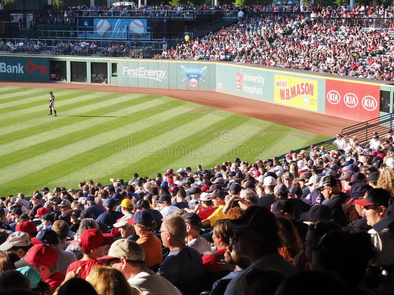 A packed Progressive Field in Cleveland, Ohio - USA - BASEBALL. Progressive Field is a baseball park located in the downtown area of Cleveland, Ohio, United royalty free stock image
