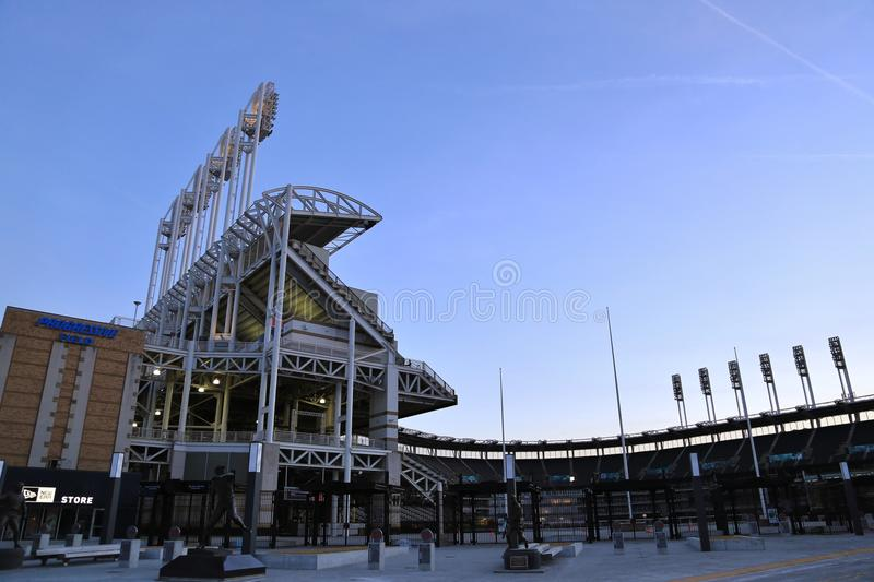 Progressive Field Baseball Park. Progressive Field is a baseball park located in downtown Cleveland, Ohio, United States. Home field of the Cleveland Indians of stock photos