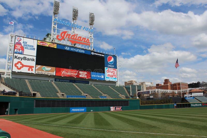 Progressive Field scoreboard. Progressive Field, home of the Cleveland Indians scoreboard royalty free stock photos