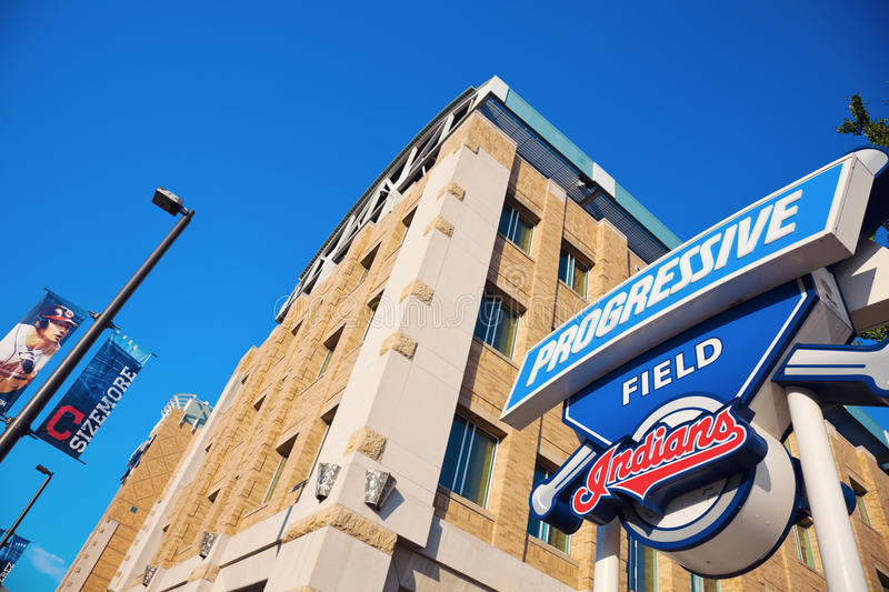 Progressive Field sign. In front of the stadium in the center of Cleveland stock image