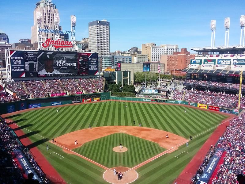 Progressive Field on a sunny Sunday in Cleveland - OHIO - USA - MLB. Progressive Field is a baseball park located in the downtown area of Cleveland, Ohio, United stock image
