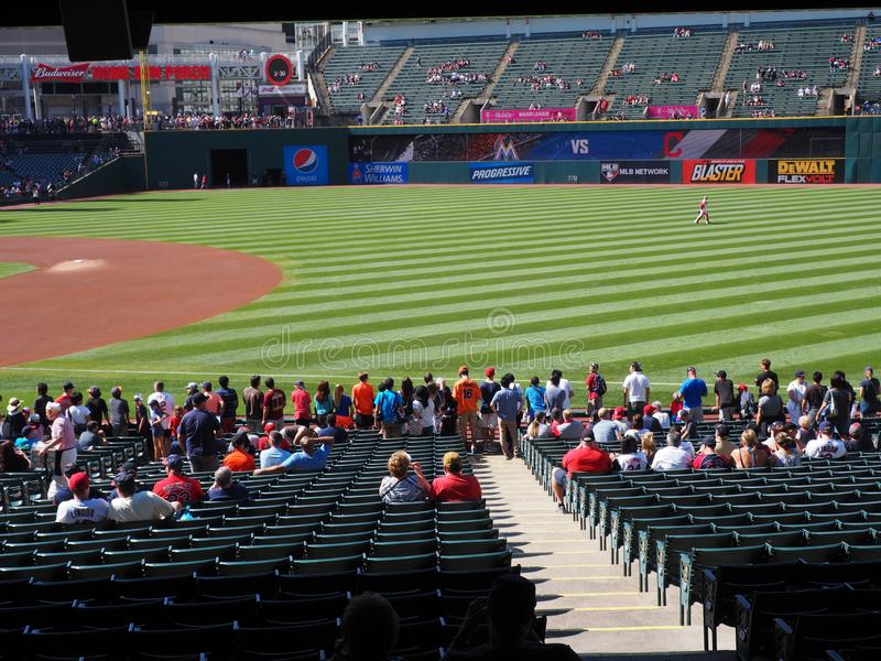 Progressive Field during warm-ups on a Sunny Day in Cleveland, Ohio - USA. Progressive Field is a baseball park located in the downtown area of Cleveland, Ohio stock photo