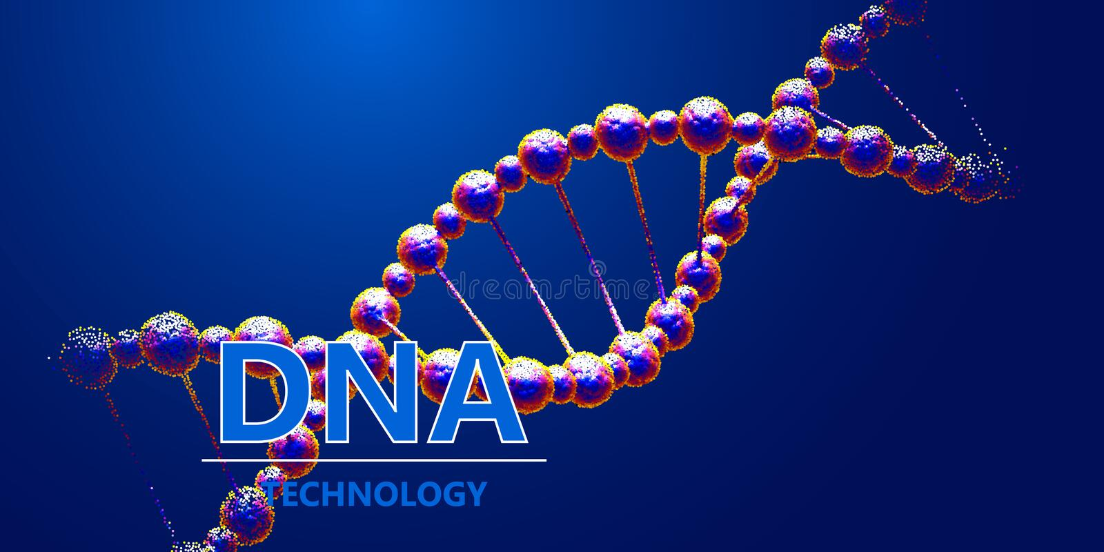 Progressive modified DNA biotechnology concept. Science vector background stock photography