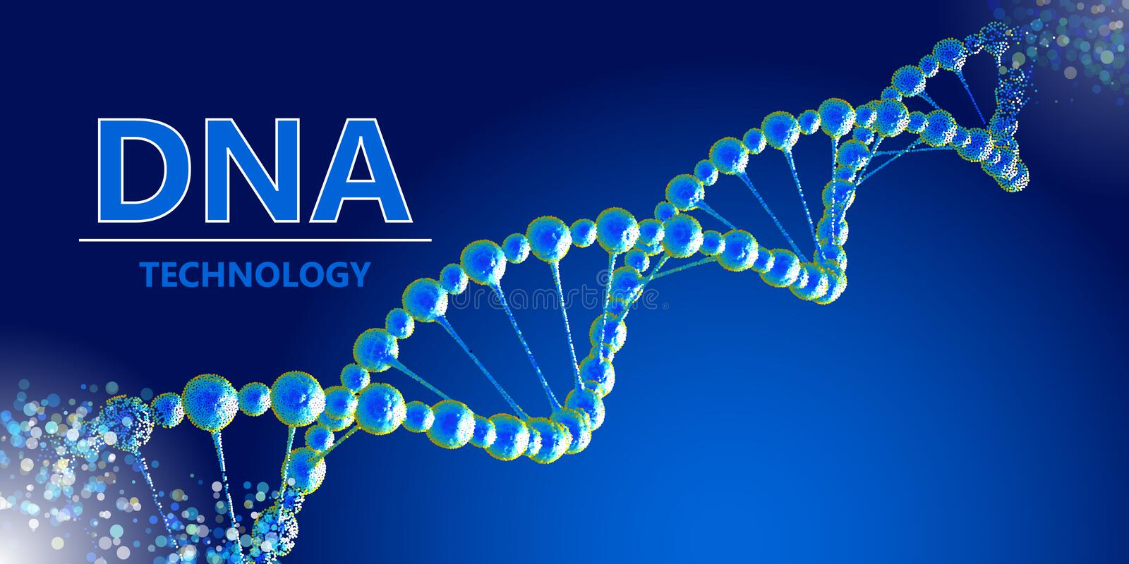 Progressive modified DNA biotechnology. Science vector background stock image