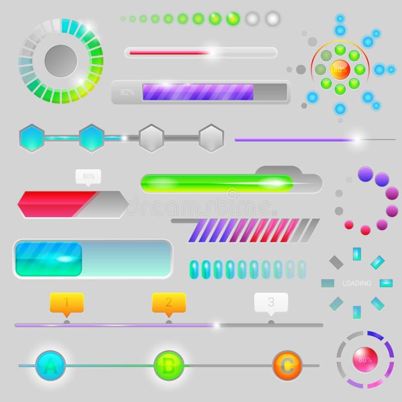 Progressive Netzschnittstelle der Fortschrittsstange für Antriebskraftlasts- oder -downloadweiterentwicklungsindikator des Ladens stock abbildung