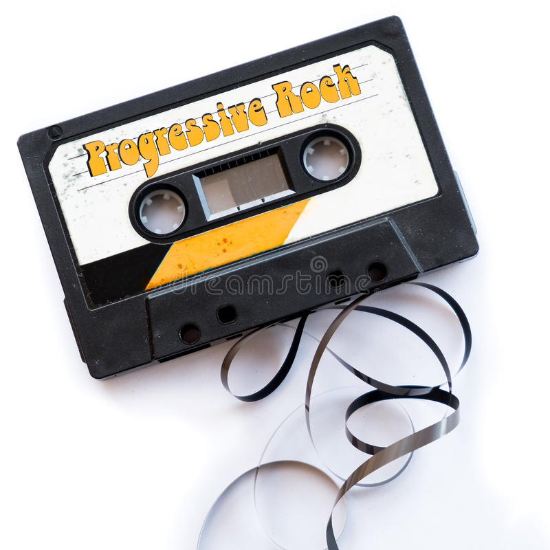 Progressive rock musical genres audio tape label.  royalty free stock images