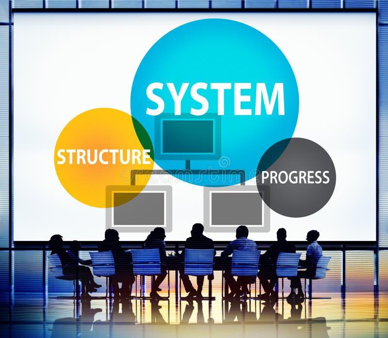 Progresso della struttura di sistema che elabora concetto di procedura illustrazione vettoriale