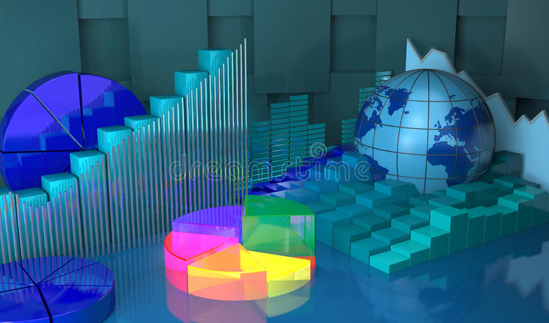 Progresso in globale, fondo astratto di affari illustrazione di stock