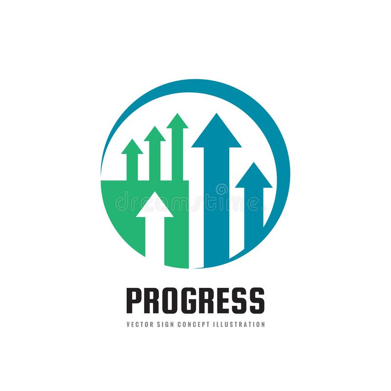 Progresso - illustrazione di concetto del modello di logo di affari di vettore Simbolo astratto delle frecce Segno creativo di te illustrazione di stock