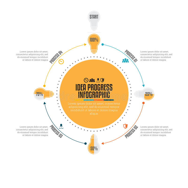 Progresso Infographic da ideia ilustração do vetor
