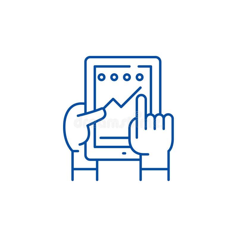 Progresso na linha conceito da aplicação do ícone Progresso no símbolo liso do vetor da aplicação, sinal, esboço ilustração stock