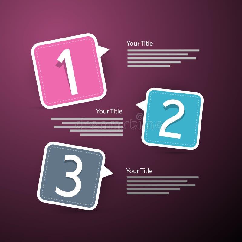 Progresso tre punti per l'esercitazione, Infographics illustrazione vettoriale