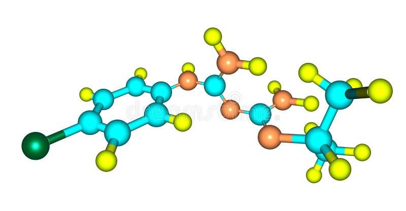 Proguanil molekylär struktur som isoleras på vit royaltyfri illustrationer