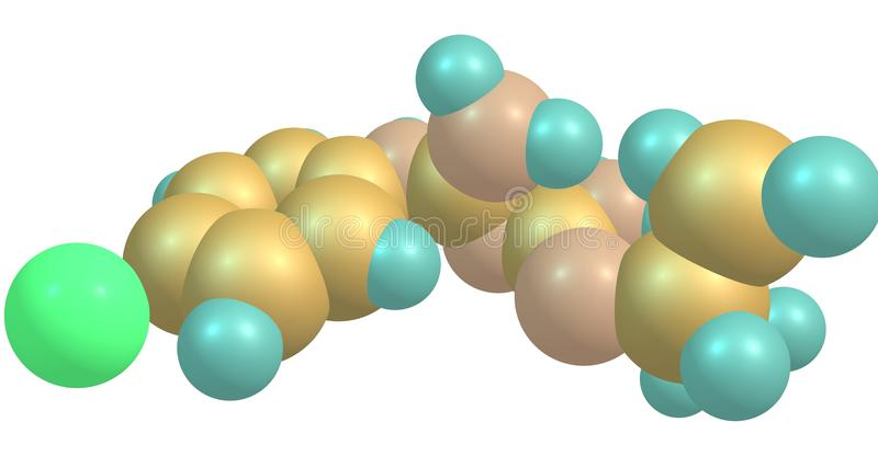 Proguanil molekylär struktur som isoleras på vit stock illustrationer
