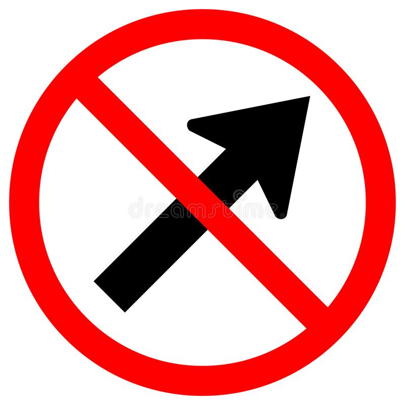 Prohíba van a la derecha por el aislante de la muestra del símbolo del camino del tráfico de la flecha en el fondo blanco, ejempl stock de ilustración
