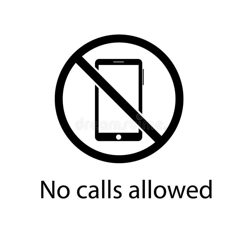 Prohibición del icono del esquema de usar un smartphone vector del concepto del teléfono ilustración del vector