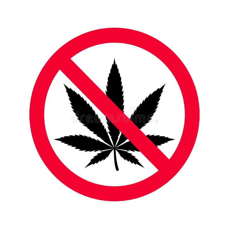 Prohibición roja ninguna muestra de las drogas Ninguna muestra de la marijuana stock de ilustración